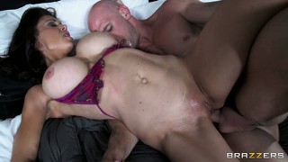 Horny, busty milf brunette gets her fuck field plowed by his big cock
