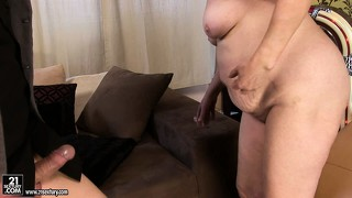Eve is a horny granny that gets a younger cock to blow and goes deep