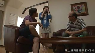Japanese milf gets a mouthful of cock