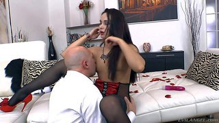 Omar galanti gets his hands on a gorgeous and sexy brunette girl in red top and black stockings and licks her pussy with passion before hardcore sex session