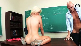 Blonde student alexis ford teases and pleases her hot teacher johnny sins