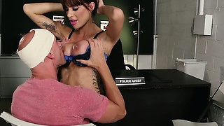 Busty police officer tries to cure injured johnny, but fucks him instead