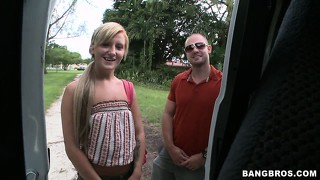 Gorgeous blonde with a splendid slim body willingly and happily gets on the van