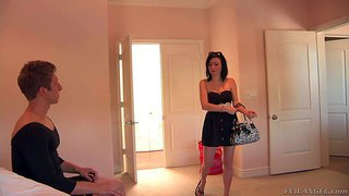 Petite brunette veruca james with natural small boobs takes off her short black dress and tight panties in front of her man. then she parts her legs and gets her snatch licked on the bed.