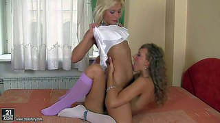 Turned on young looking blonde and brunette babes malia and lisa with natural boobies and tight sexy bodies make out and have amazing orgasms while licking each others wet honey pots