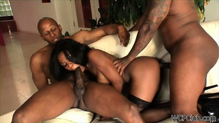 Skinny black chick gets two load of jizz from her hung homies