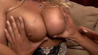 Tanned turned on curvy blonde milf rachel love with gigantic gazongas and arousing make up in expensive lingerie polishes her wet cunt and gives amazing blowjob to rocco reed with long anaconda