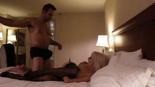 Blonde cougar fills the room with moans while being plowed hard