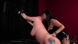 Chubby slave gets stuck with an anal hook by her cruel mistress