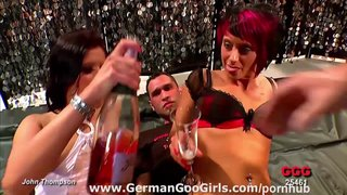 Two naughty german chicks licked each other and got pussy pounded