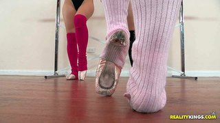 Three dark haired and handsome babes dani daniels, ashley fires and melody jordan enjoy in their afternoon class in the gym, doing some sexy ballet poses and stretching out on floor