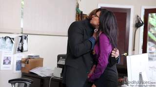 Eva angelina and evan stone have great office sex