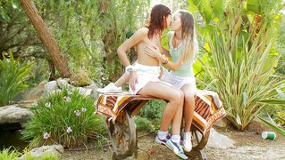 Two horny lesbians in the middle of nature