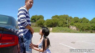 Turned on cock addicted black haired whore with nice tits and pierced nipple does choose place nor time for sex. she gives amazing deep throat to her neighbor on the street on sunny day.