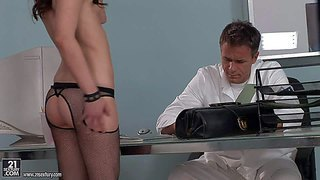 Adorable young looking brunette babe amirah adria with small boobies in fishnet stockings is smiling while dirty doctor is stuffing her tight asshole with his rock hard cock in close up
