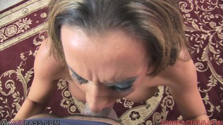 Busty skank dishes out a sloppy pov blowjob and takes a facial