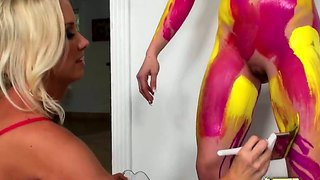 Jennifer white and molly cavalli in lesbo painting