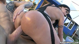 Brunette milf rides a cock up her ass in her black stockings