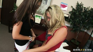 Blonde tramp bends over to be punished by her geeky girlfriend