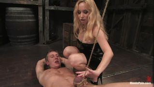 Blonde milf with hot body torturing and sucking a cock