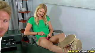Attractive young blonde jessy is a first timer that is ready to do lewd things in front of the camera. naughty chick with natural tits takes off her string thong at the casting office and guy spreads her ass cheeks.