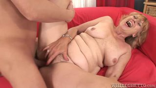 Red head grany takes a break from the cane and gets fucked!