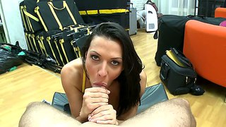 Rachel starr gives a perfect blowjob pov style