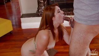 Facialized redhead sucked a cock insanely