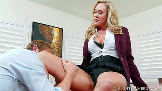 Brandi love is one on one with her employee ryan mclane. he does his best to please his female boss. she sucks milf's toes for a start. then she opens her legs and he gives her snatch a lick.