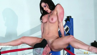 This busty brunette milf is tied up in the ropes getting licked and fucked in the boxing ring