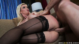 The stunning blonde rides that big dick and her body trembles with pleasure