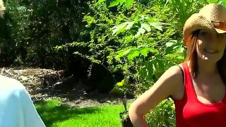 Busty woman works and fucks hard in her garden