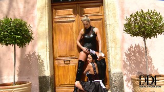 Brunette maid was a naughty girl and gets ass fucked by her mistress