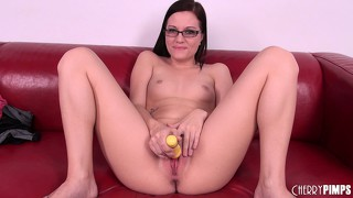 Brandi belle sports a geeky look while she fucks her young cunt