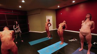 This is exciting yoga club where girls need to be naked to feel every moving of air with their bodies
