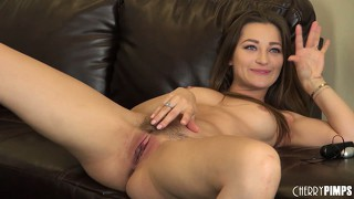 Teen cutie with perky tits fucks herself like a naughty bitch