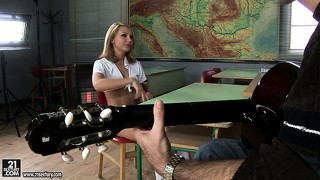 Guitar playing whore nataly von gets lesson on g-string from master fingerer