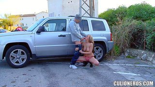 Hot russian babe candy alexa with big natural tits gives blowjob beside a car in public place. she wears nothing but tiny panties. lucky guy fucks her mouth like crazy in the open place.
