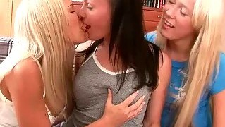 Three pretty teens having lesbian anal fun
