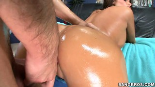 Slickery slit and oiled up ass set off this cock pounding fun he's having