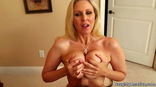 Seductive busty milf julia ann with juicy ass is his friend's horny mom. this milf gets her huge hooters and warm mouth fucked before she takes his tool in her eager fuck hole. watch big racked milf get shagged.