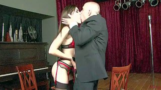Skinny brunette sasha grey in black dress and stockings spreads her slim long legs invitingly in front of horny gent. he licks her snatch and then she takes his eager cock in her hot mouth.