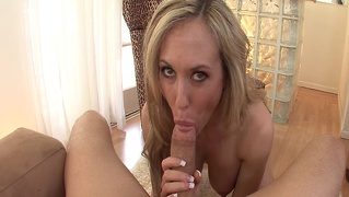 Busty blonde sucks and throats big cock