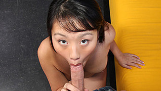 Petite asian evelyn lin sucks some dick