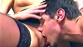 Attractive young looking blonde zara with small boobs in black lingerie and high heels gets her shaved pussy licked to orgasm on white piano by her handsome lover with hot body