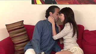 Petite babe zoe voss fucking with her boyfriend eric john on the couch