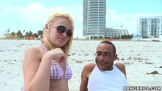 Horny dude meets a russian babe on the beach and takes her home to undress her and more...