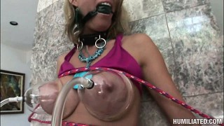 The busty blonde has him drilling her pussy with a sex toy and pleasing her clit