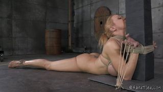 Tied up blonde gets her ass filled up