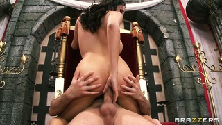 Ass king gets on his throne and lets his hot anal slut ride him